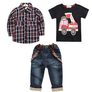 boy's long sleeve plaid shirt + jeans + Vehicle Printing 3 pcs-Sunshine's Boutique & Gifts