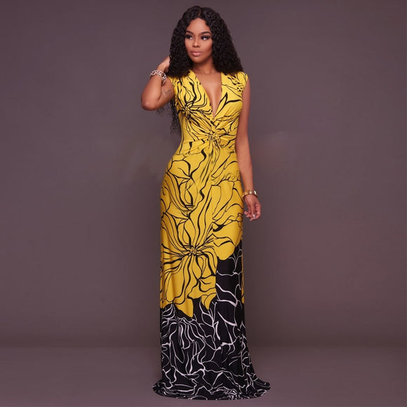 Sexy Floral print long dress-Sunshine's Boutique & Gifts