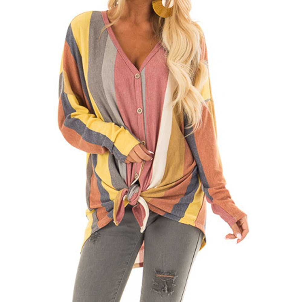 Women V Neck Long Sleeve Button Print Multicolor Stripe Top-Sunshine's Boutique & Gifts