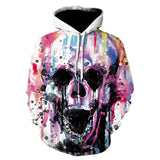 Hooded Sweatshirt Black Skull Flower 3D Print Unisex