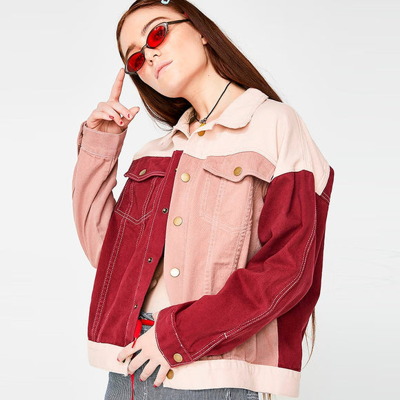 Plus Size College Style Red And Pink Patchwork Coat