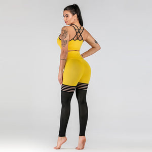 Yellow Hollow Mesh Fitness Set