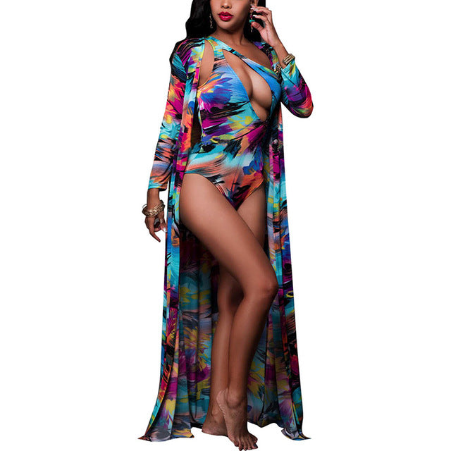 Sexy One Piece Bodysuit Chiffon Long Sleeve Smock-Sunshine's Boutique & Gifts