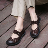 Leather Women Round Toes Flats-Sunshine's Boutique & Gifts