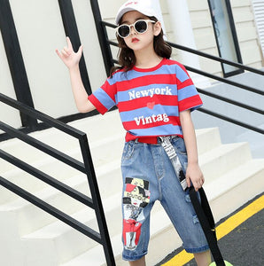 Teen Striped T-Shirt + Jeans Clothing Set