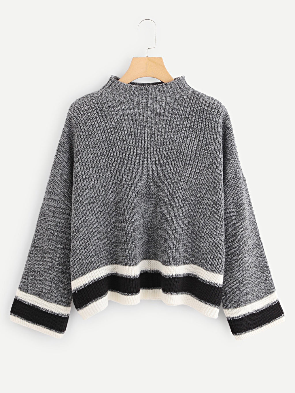 Plus Mock Neck Striped Trim Sweater-Sunshine's Boutique & Gifts