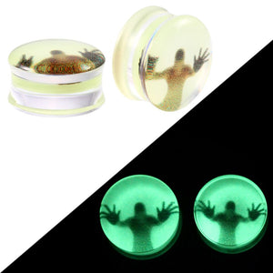 2Pcs/lot Acrylic Glow in the Dark Ear Gauges-Sunshine's Boutique & Gifts
