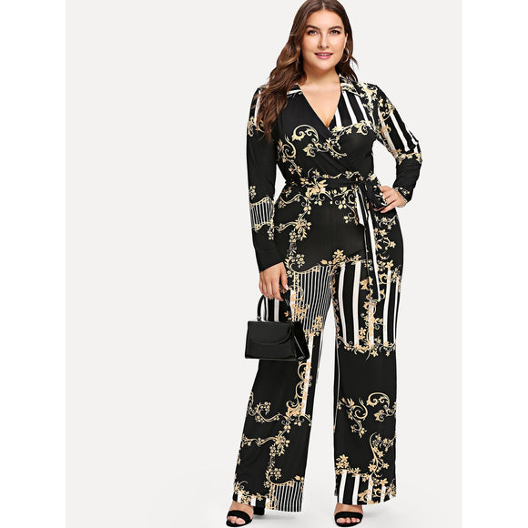 Mixed Print Surplice Wrap Jumpsuit-Sunshine's Boutique & Gifts