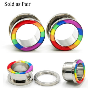 2pc Surgical Steel Rainbow Plugs-Sunshine's Boutique & Gifts