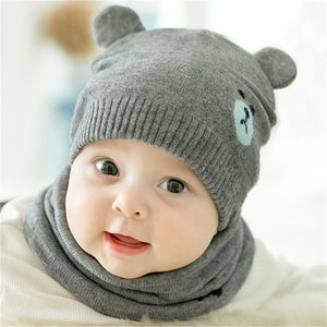 2pcs/set Fashion Newborn Knitted Winter Caps + Scarf Suits-Sunshine's Boutique & Gifts