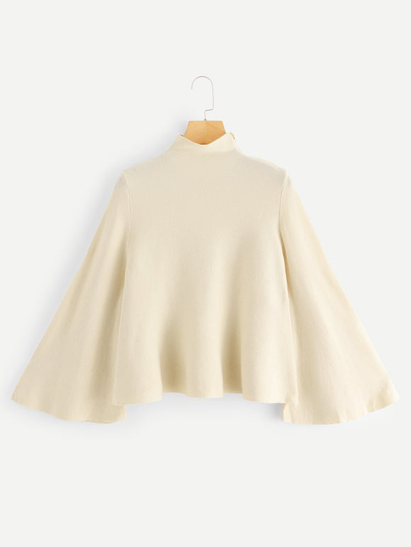 Mock Neck Bell Sleeve Jersey Sweater-Sunshine's Boutique & Gifts