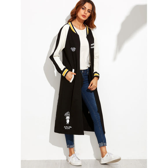 Cartoon Print Striped Raglan Sleeve Longline Baseball Jacket-Sunshine's Boutique & Gifts