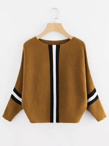 Plus Stripe Contrast Knit Sweater-Sunshine's Boutique & Gifts