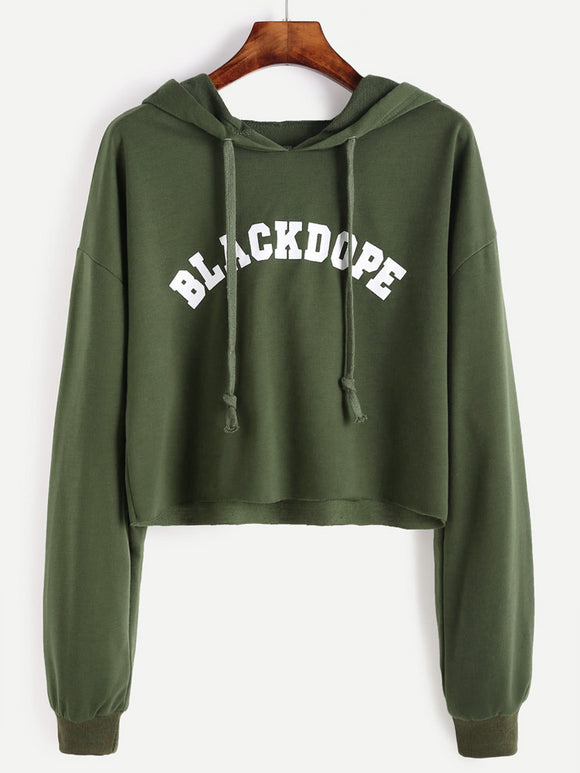 Drop Shoulder Letter Print Raw Hem Crop Hoodie-Sunshine's Boutique & Gifts