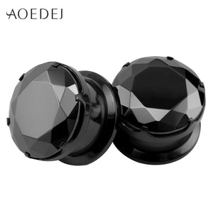 4-16mm Black Crystal Plugs-Sunshine's Boutique & Gifts