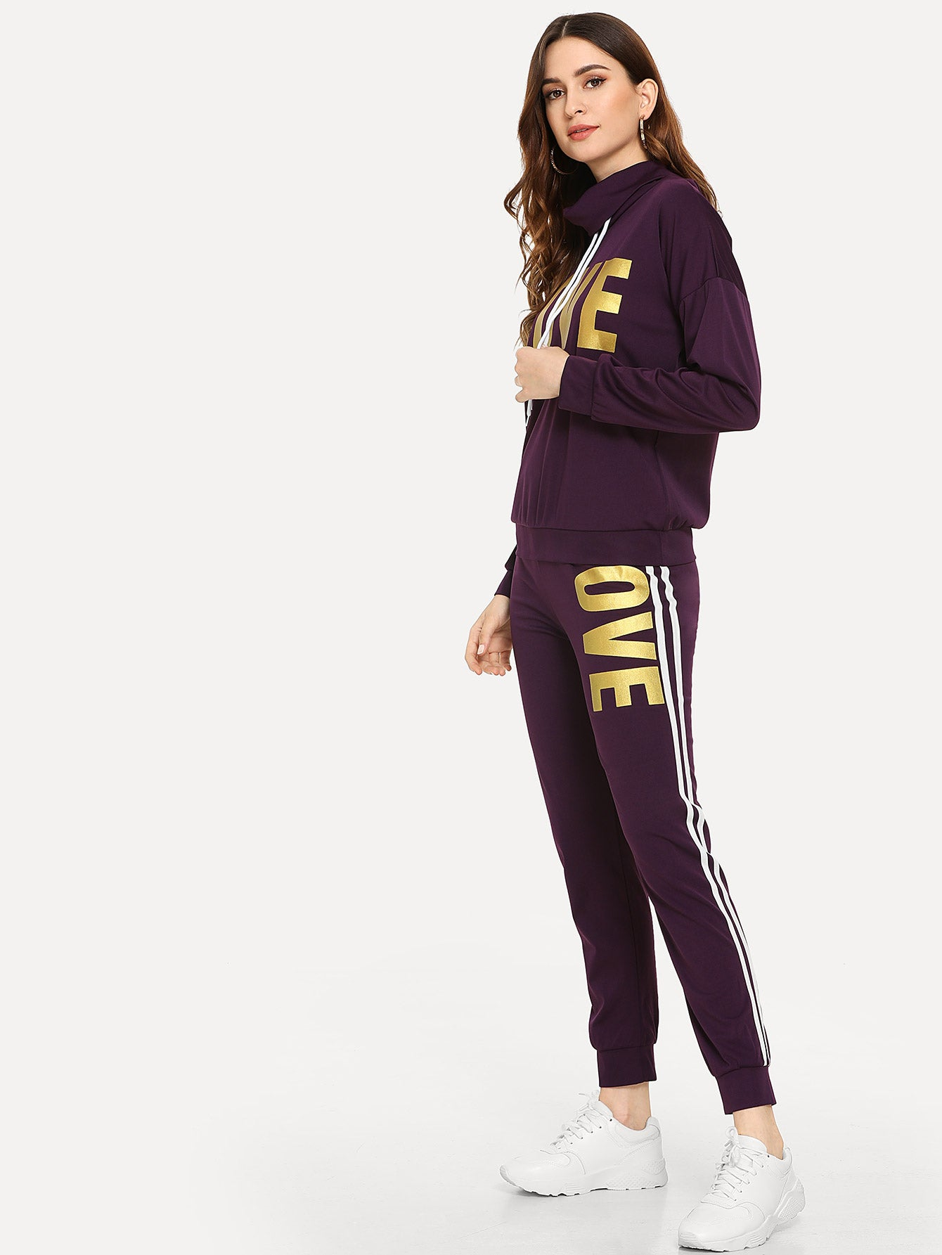Letter Print Sweatshirt With Pants Set-Sunshine's Boutique & Gifts