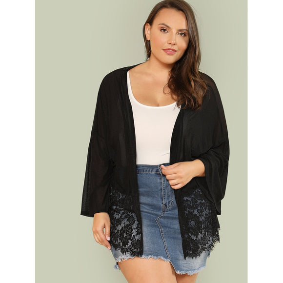 Plus Lace Hem Sheer Kimono-Sunshine's Boutique & Gifts
