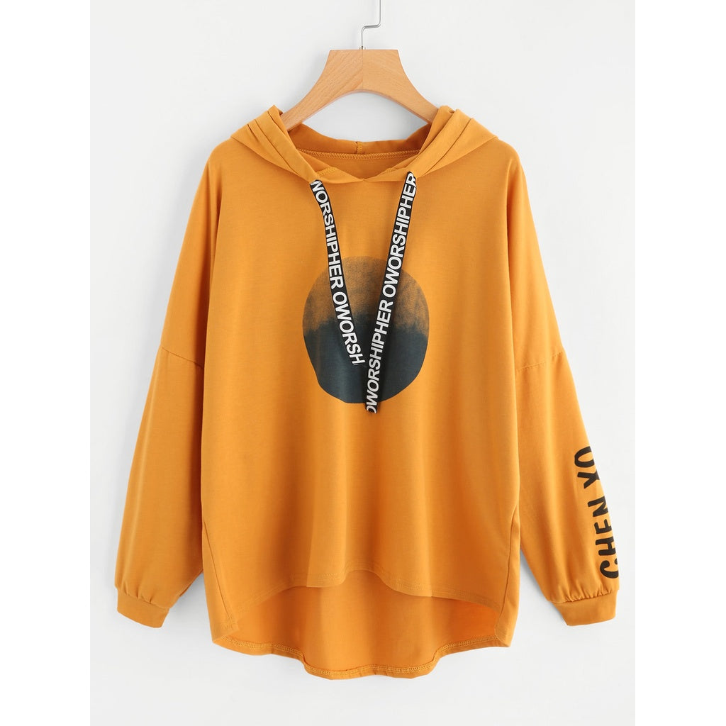 Plus Letter Print Hooded Sweatshirt-Sunshine's Boutique & Gifts