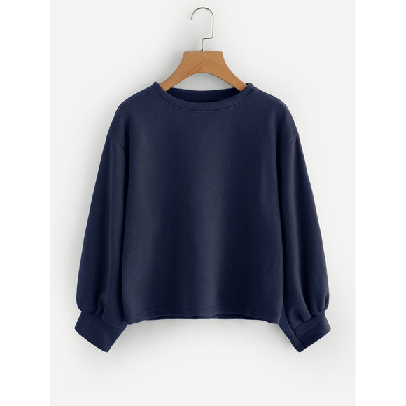 Drop Shoulder Lantern Sleeve Ribbed Sweatshirt-Sunshine's Boutique & Gifts