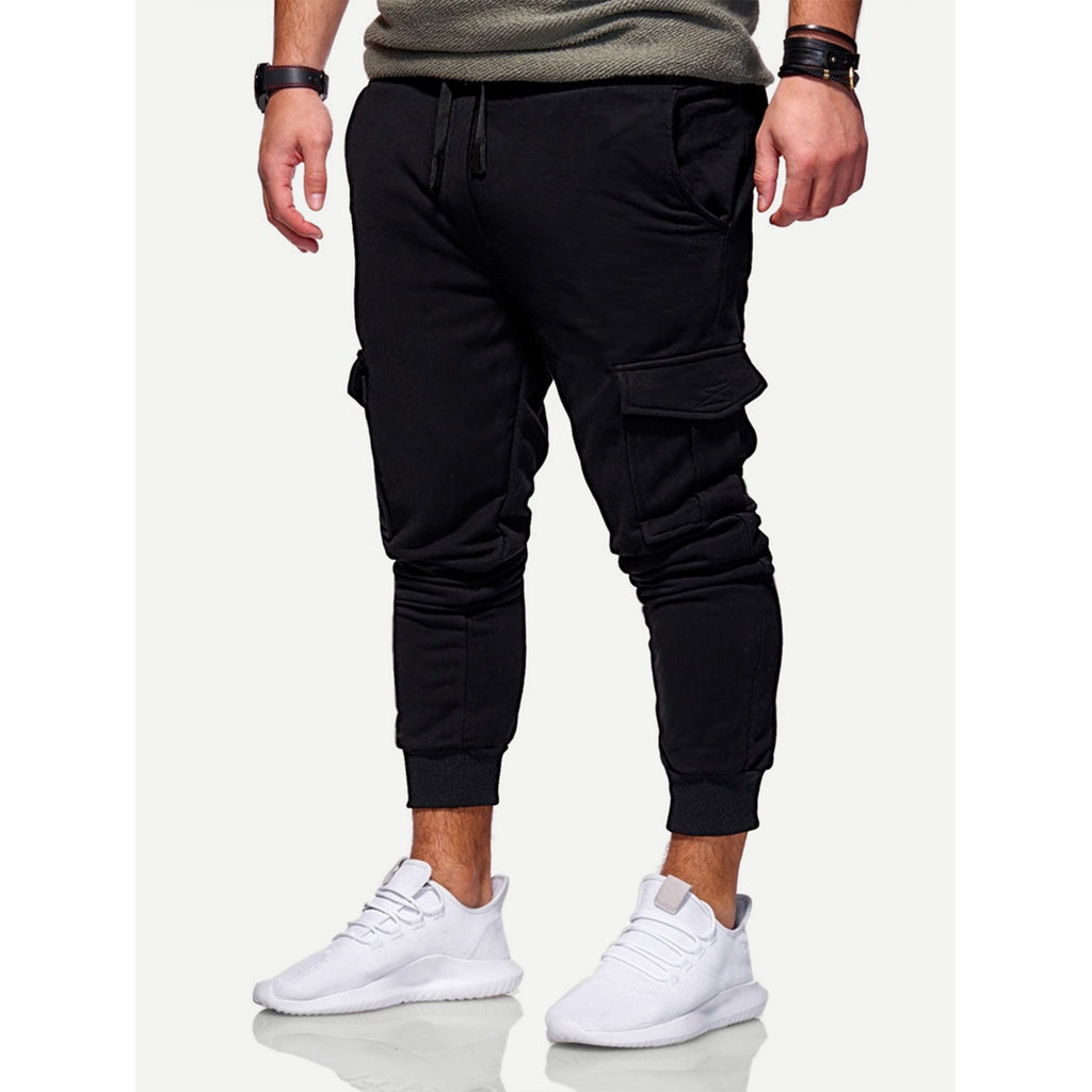 Men Solid Pockets Decoration Drawstring Pants-Sunshine's Boutique & Gifts