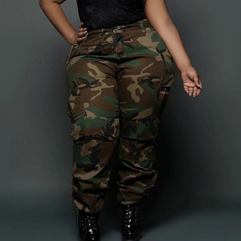 Plus Size Cargo High Waist Camouflage Pants
