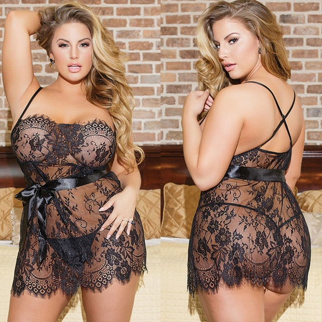 Plus Size Black Lace Sexy Lingerie