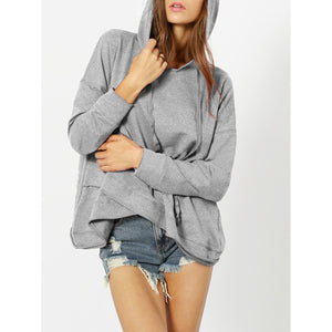 Dropped Shoulder Heather Knit Overlap Hoodie-Sunshine's Boutique & Gifts
