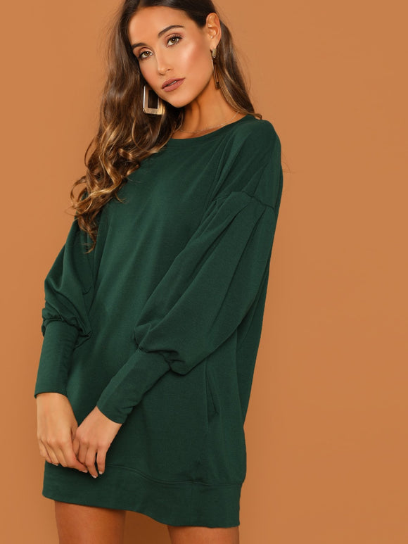 Drop Shoulder Solid Sweatshirt Dress-Sunshine's Boutique & Gifts