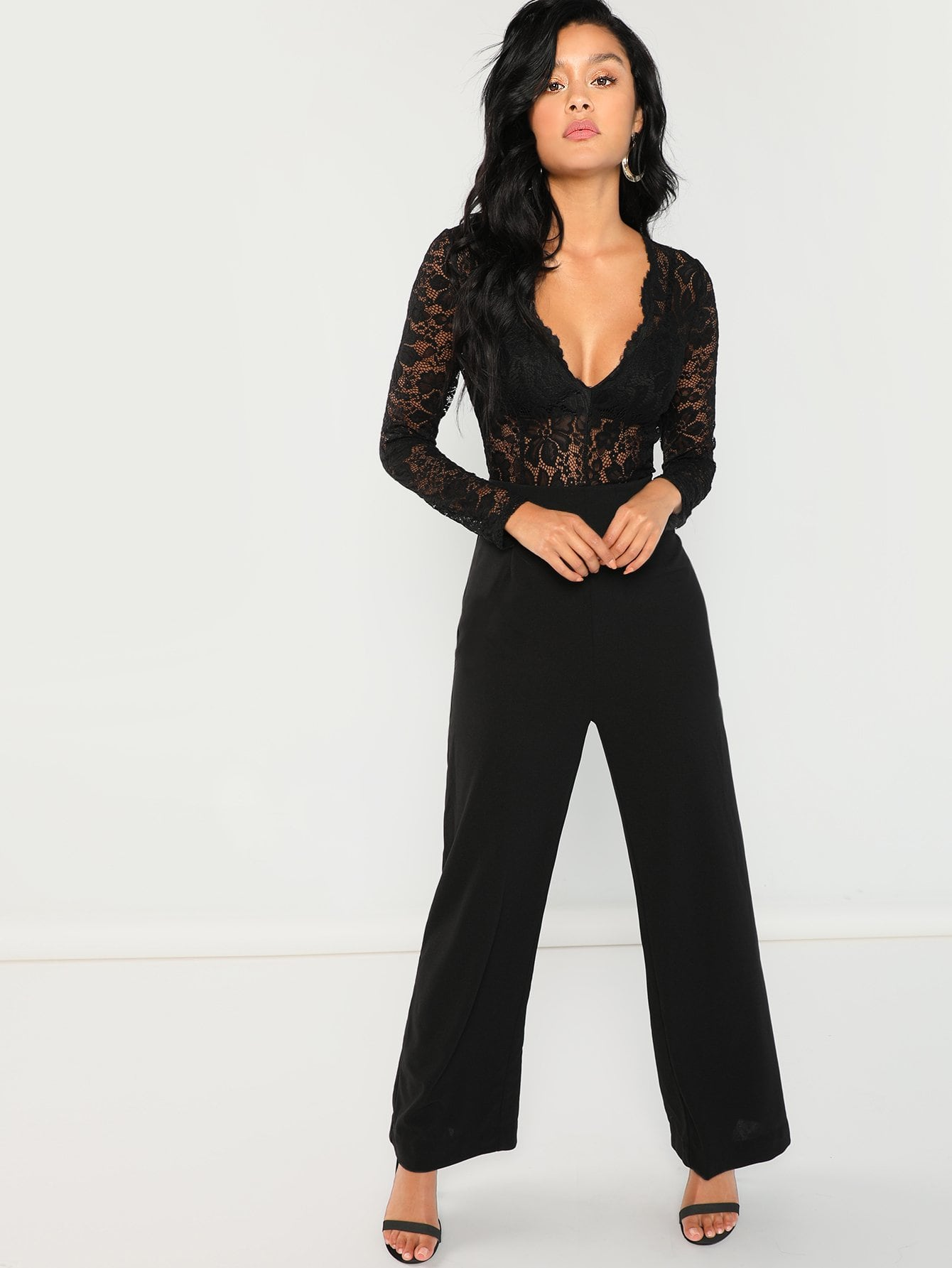 Plunging Lace Bodice Jumpsuit-Sunshine's Boutique & Gifts