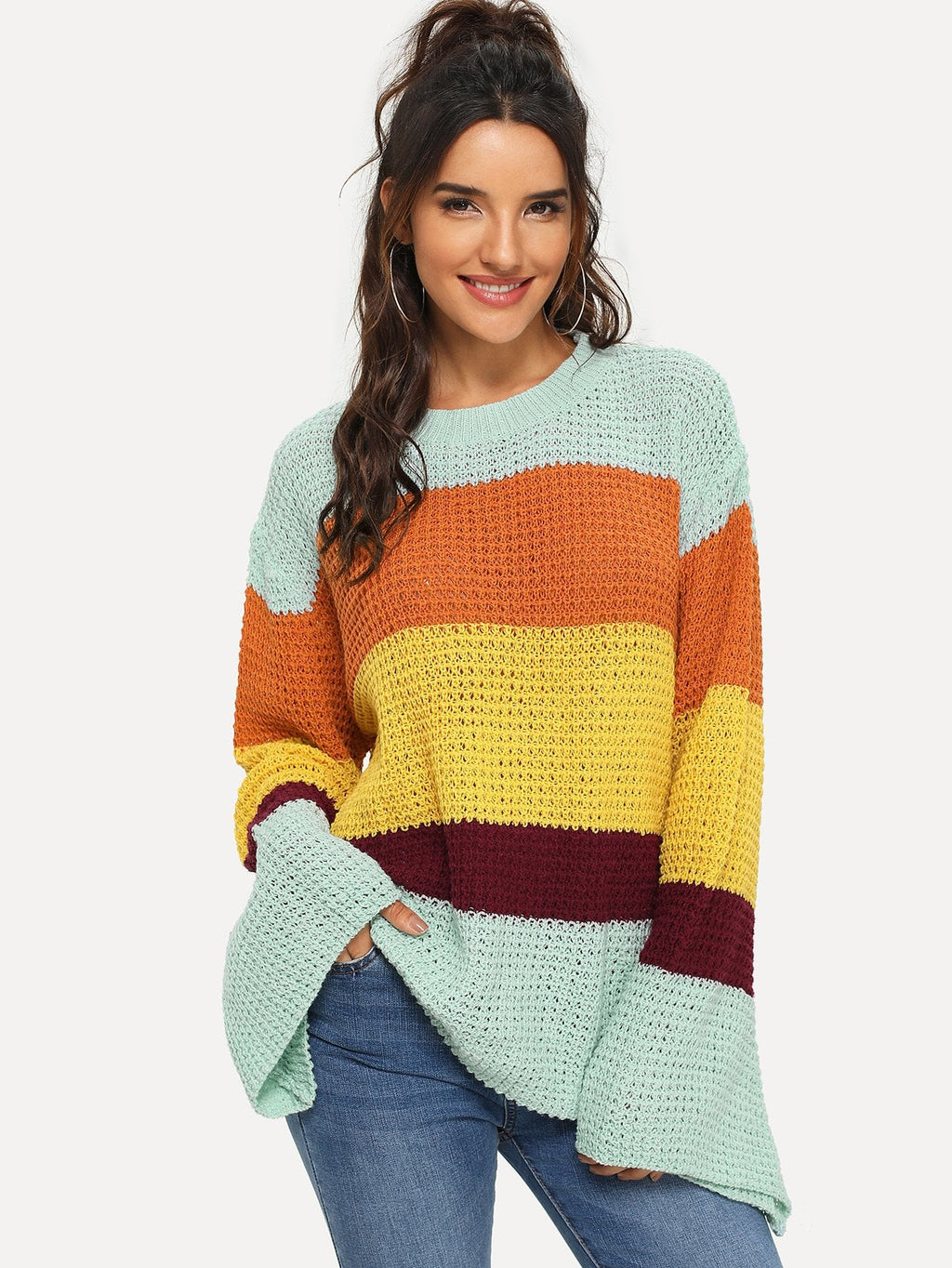 Drop Shoulder Color Block Sweater-Sunshine's Boutique & Gifts