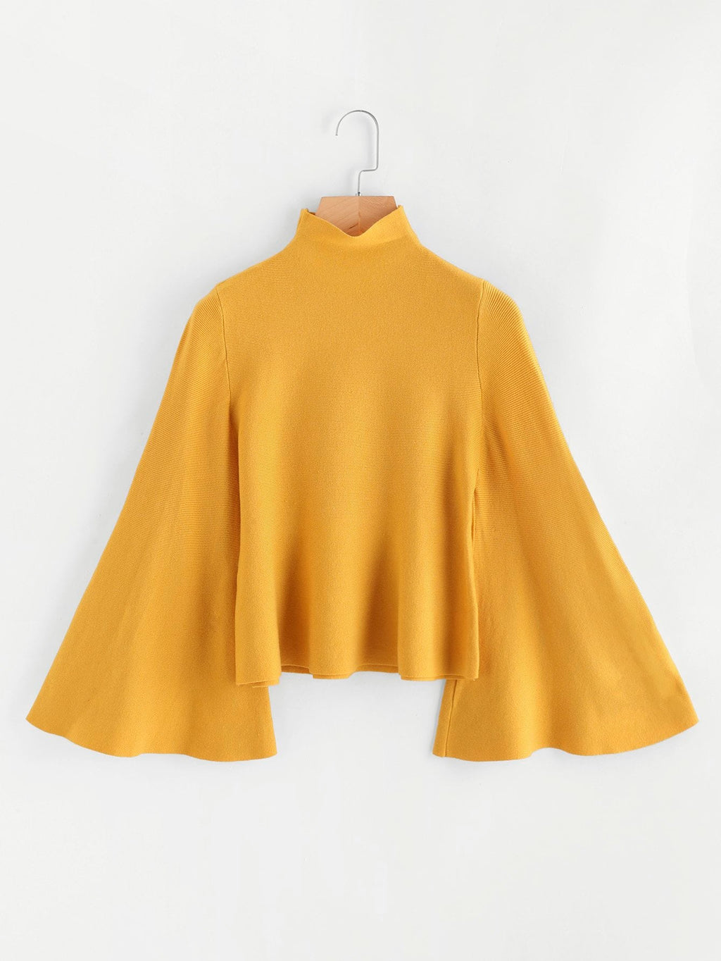 Stand Neck Bell Sleeve Solid Jumper-Sunshine's Boutique & Gifts
