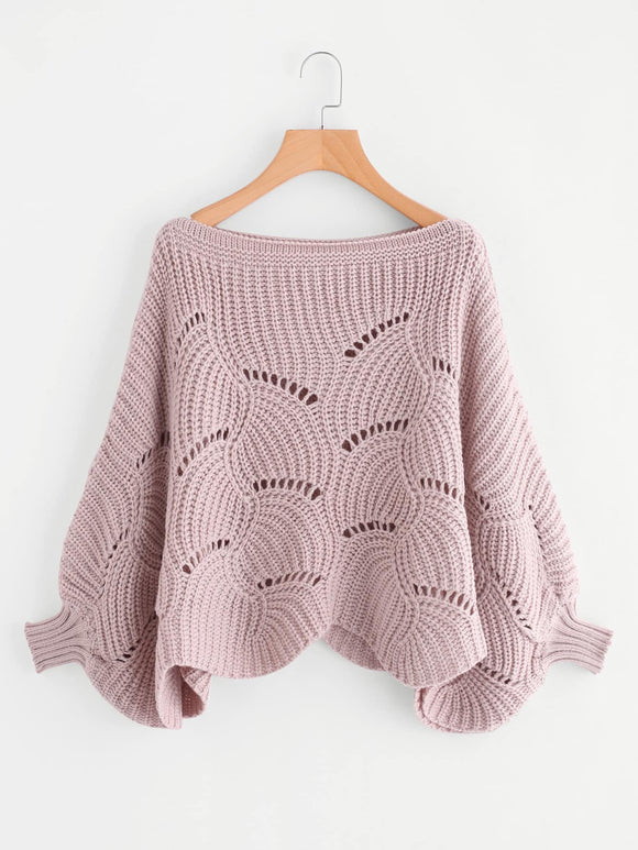 Loose Knit Scalloped Dolman Sweater-Sunshine's Boutique & Gifts