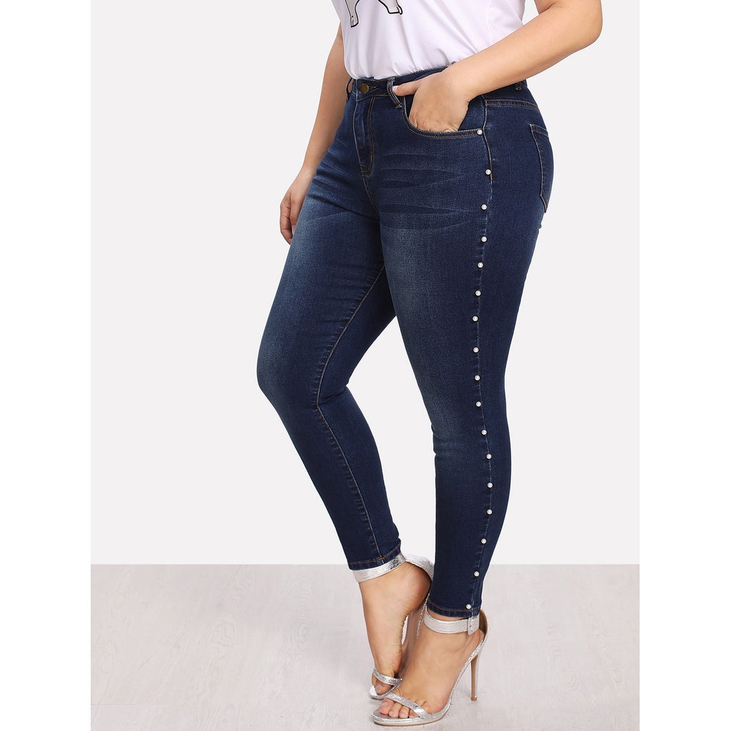 Pearl Detail Bleach Wash Jeans-Sunshine's Boutique & Gifts