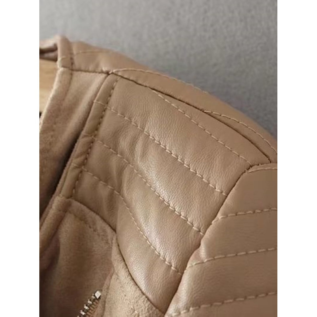 Zipper Detail Quilted PU Jacket-Sunshine's Boutique & Gifts