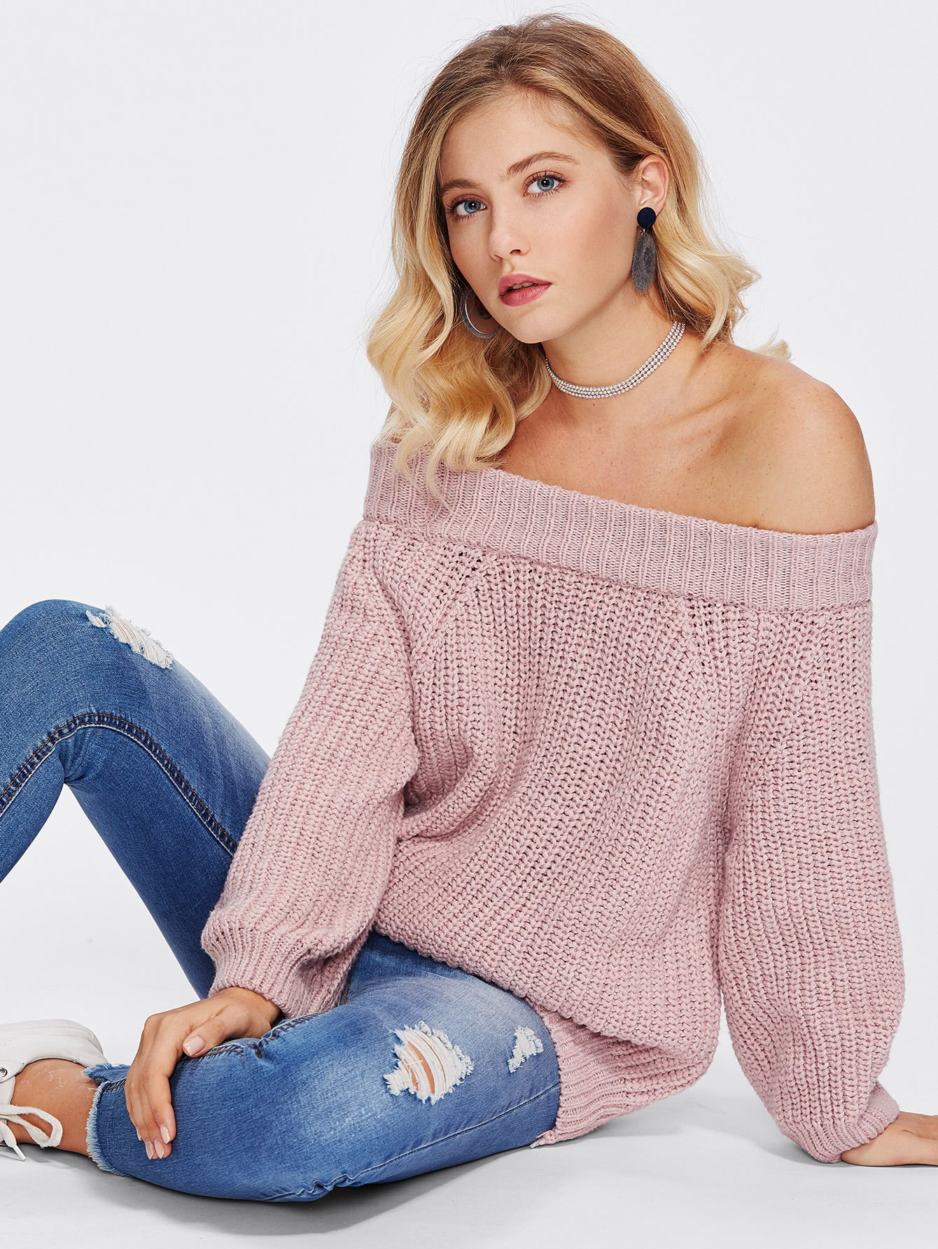 Off Shoulder Texture Knit Sweater-Sunshine's Boutique & Gifts