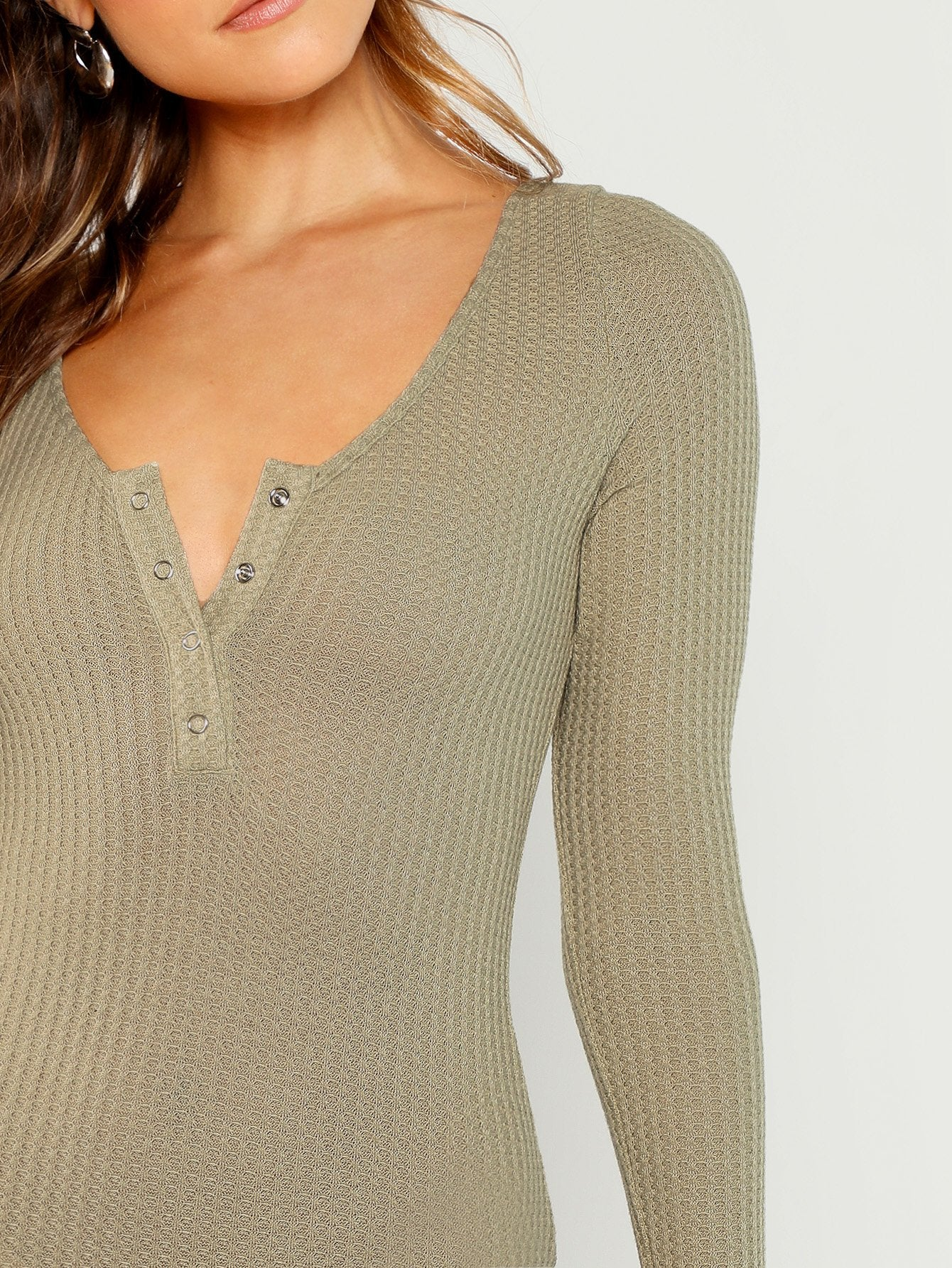 Snap Button Neck Waffle Knit Bodysuit-Sunshine's Boutique & Gifts