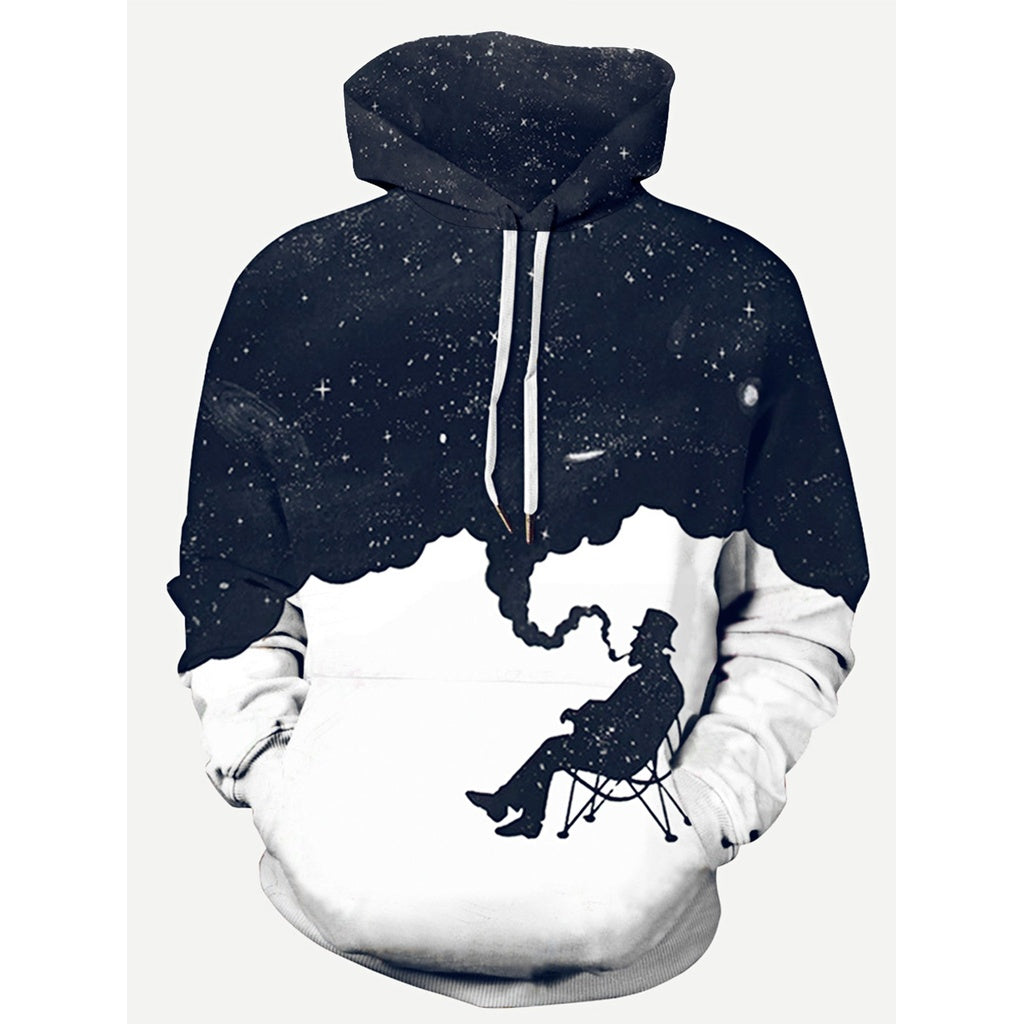 Men Galaxy Print Hooded Sweatshirt-Sunshine's Boutique & Gifts
