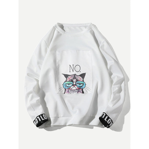 Men Cat Patch Slogan Cuff Sweatshirt-Sunshine's Boutique & Gifts