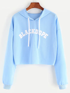 Hooded Letter Print Crop Sweatshirt-Sunshine's Boutique & Gifts