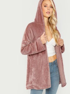 Open Front Hooded Faux Fur Coat-Sunshine's Boutique & Gifts