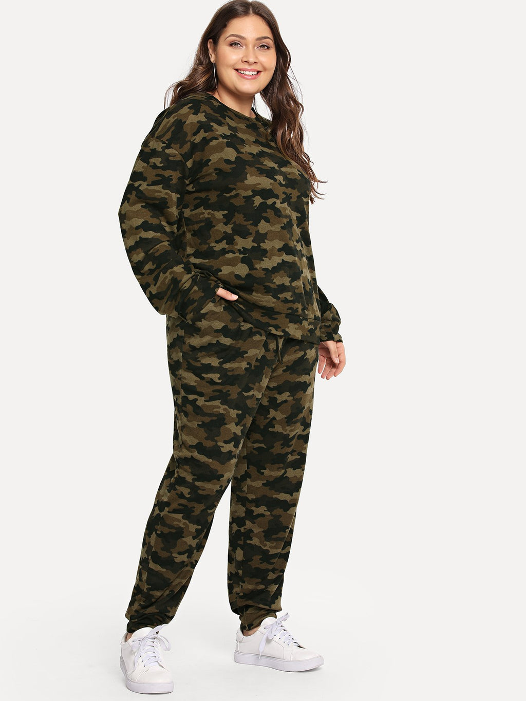 Plus Camo Print Top & Sweatpants Set-Sunshine's Boutique & Gifts
