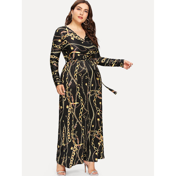Plus Digital Print Plunging Gown Dress-Sunshine's Boutique & Gifts