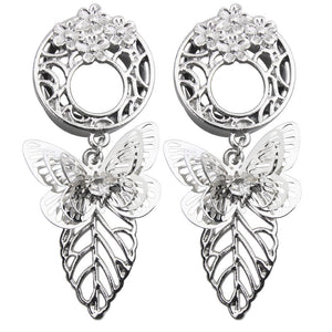 Butterfly Style Stainless Steel Dangle Ear Plug-Sunshine's Boutique & Gifts