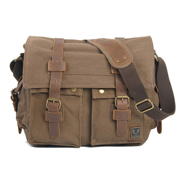 Vintage Canvas Leather School Military Shoulder Bag