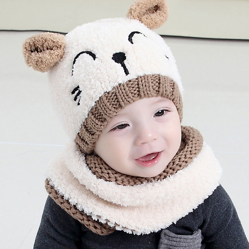 Winter Hooded Scarf Knitted Cap Cute Gift Suit-Sunshine's Boutique & Gifts