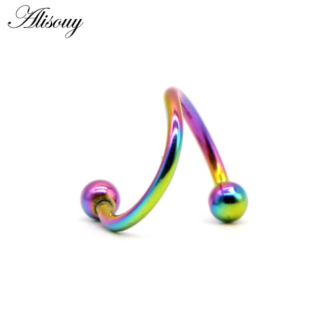 1 PC S Shape Surgical Stainless Steel 2 Balls Helix Cartilage Piercing 16G-Sunshine's Boutique & Gifts