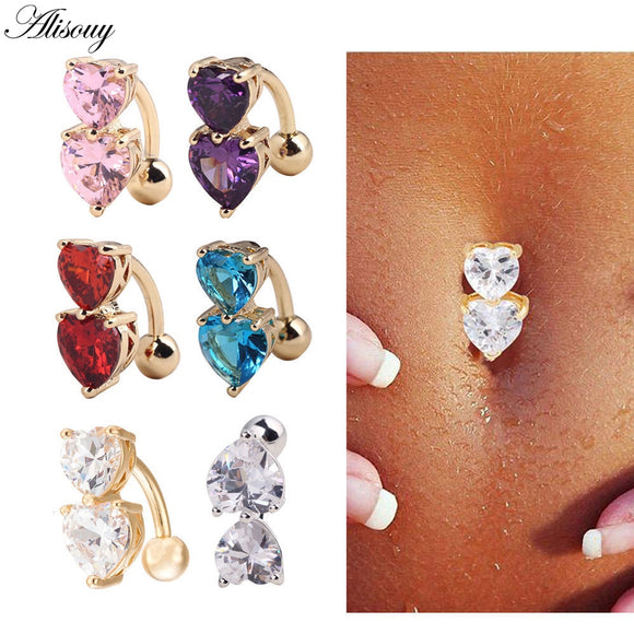 Steel Crystal Belly Button Rings-Sunshine's Boutique & Gifts