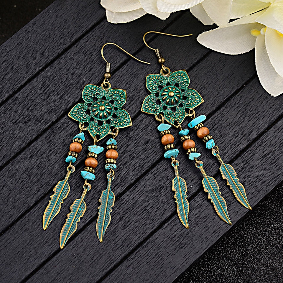 Antique Green Flower Boho Dangle Drop Earrings-Sunshine's Boutique & Gifts