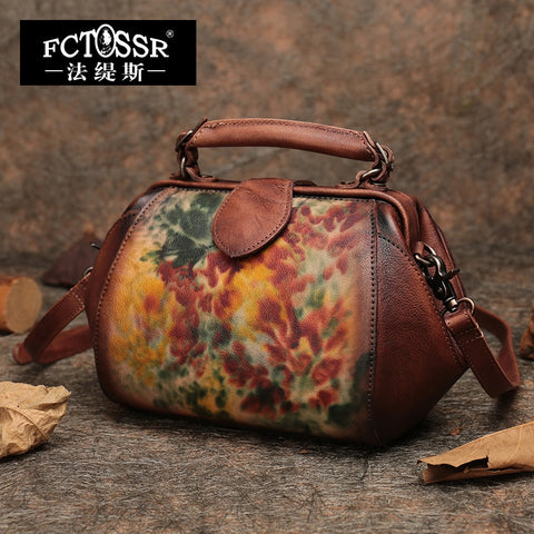Autumn Latest Frame Handbag Handmade Genuine Leather