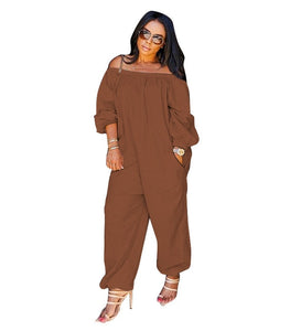 Slash Neck Loose Long Jumpsuits